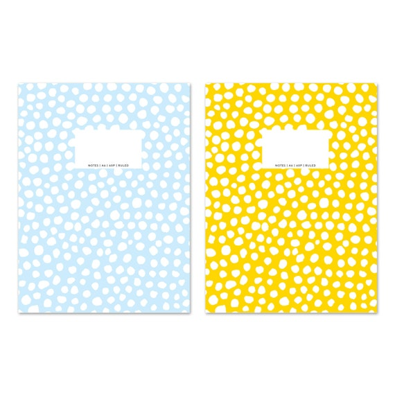 DOTS YELLOW + BLUE Set of 2 small notebooks / journal / diary