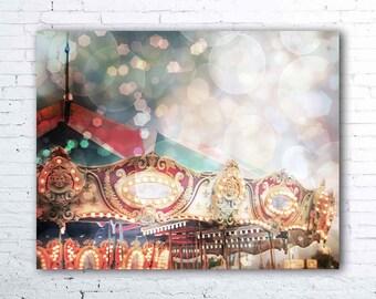 Which Memories Remain - fine art photograph, pastel carnival nursery decor, carousel photo, carousel art, surreal, bokeh, magical, dreamy