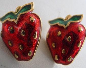 Vintage red and green enamel strawberry stud earrings