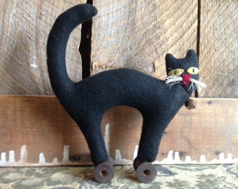 Halloween Black Cat on Vintage Wood Spool Primitive Folk Art JKB