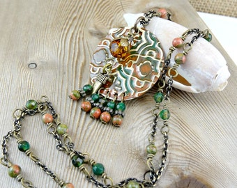 Green Beaded Necklace, Long Gemstone Necklace, Moroccan Inspired, Hand Painted Embossed Brass Fringe Pendant