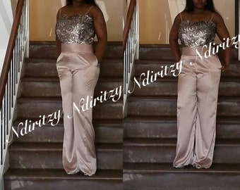 Jumpsuit, Plus Size Blush Silk Charmeuse Sequence jumpsuit with pocket,wedding, Spaghetti Strap jumpsuit, Pageant jumpsuit, backlessjumpsuit