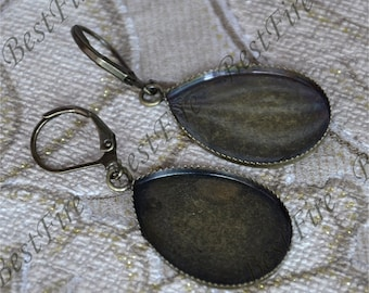 2 pairs 13x18mm,18x25mm Antique Bronze Earwires Hook With oval Cabochon Pad,Earrings hook findings,earrings findings