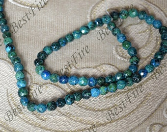 6mm Single Faceted Round Azurite Chrysocolla Jasper,Reconstituted Chrysocolla loose beads,blue green jasper Full Strand 15.5inch
