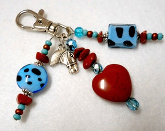 Bohemian Cowgirl Clip, Purse Charm, Bridle Jewelry Charm, Key Fob