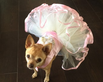 Pretty in Pink Princess, Bridesmaid dog dress, flowergirl dog dress, dainty dog dress, designer dog dress,  big dog dress, fancy dog dress