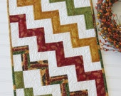 Quilted Fall Autumn Table Runner Chevron Design Burgundy, Gold, Green