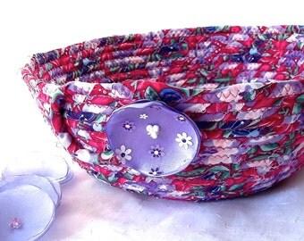 Pink Magenta Basket, Handmade Makeup Storage Basket, Lovely Lavender Fabric Basket, Purple Napkin Holder, Fuchsia Storage Organizer