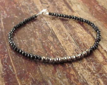 Pyrite Bracelet Black Spinel Bracelet Pyrite Jewelry Spinel Jewelry Bead Beaded Bracelets Woman's Bracelet Gifts for Her Birthday Gift Ideas
