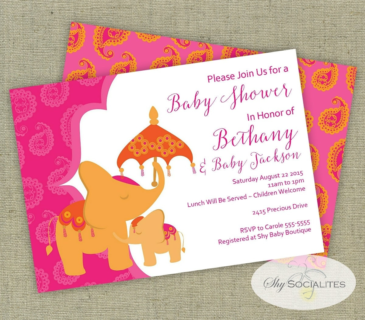 Elephant Baby Shower Invitation Moroccan Baby Shower