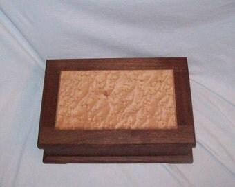 Fancy Walnut Jewelry Box with Birds Eye Maple paneled top Wood Box Handmade  15''x10 1/4''x5''