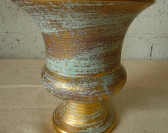 Stangl Gold & Teal Vase- reduced