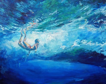 "Beneath the Break Large Original Acrylic Painting of surfer beneath swell of  waves 30"" x 36"""