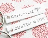 Key Chain Set of 2 CUSTOMIZED For You Hand Stamped Polished Aluminum Personalized Made To Order Keychain Short Quote Names Dates Gift
