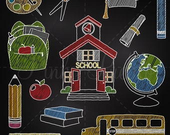 Chalkboard Back to School Clipart Clip Art, Chalk Board Teacher Clipart Clip Art Vectors - Commercial and Personal Use
