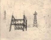 Snowscape Substation - Original Etching
