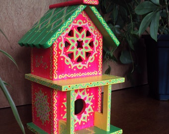 Flourescent Pink Handpainted Birdhouse/ 2 Story/Green Roof/Floral Designs/Doodles and Dots/Whimsical/Home Decor