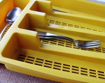 Kitchen Tray Flatware Utensil Yellow Gold Plastic 1970s Retro Decor
