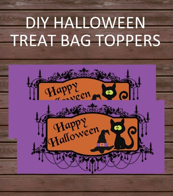 DIY Halloween Treat Bag Toppers, Instant Download, Happy Halloween with Black Cat Printable