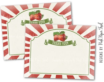 Strawberry Party, Farmer's Market, Printable Thank You Card, Instant Download, Print Your Own