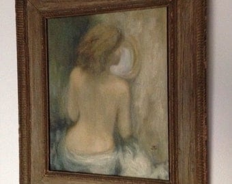 Vintage Painting on Canvas Board Frame