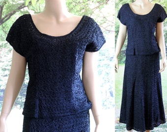 Vintage Fashion Outfit Skirt Top D&M Original Navy Blue Rayon Ribbon Fabric Satin Lined Metal Side Zipper Size Medium Free Shipping