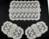 Crochet Dresser Scarves Set White 3 piece