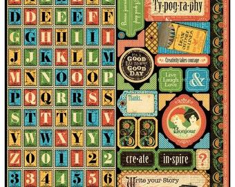 Graphic 45 Typography Sticker Alpha Sheet 12x12 Sheet