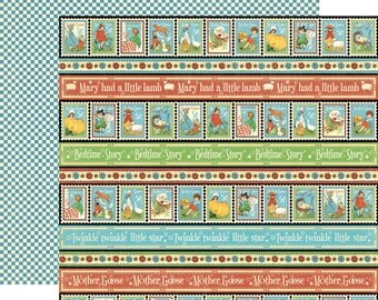 Graphic 45 Mother Goose Collection Playful Postage #4500750 12x12 Double Sided Sheet
