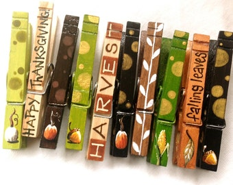 THANKSGIVING CLOTHESPINS hand painted magnetic