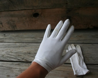 Vintage White Cotton Driving Gloves - Gatsby Gloves - Lawn Party Gloves