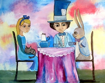 Large Original Storybook Painting Alice In Wonderland Mad Hatter Tea Party March Hare Whimsical Nursery Illustration Cute Children Decor