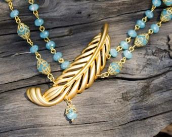 Gold Feather Pendant & Turquoise Crystal Necklace - Elegance, Vintage, Multi-Strand, Filigree