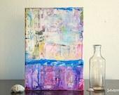 "Abstract Art Painting, 5x7 Original Art Panel, Mixed Media Art, Contemporary Art, Bright Art, Blue, Purple, Red, Yellow, Pink, ""Satisfy"""