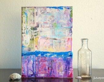 "Abstract Art Painting, 5x7"" Original Art Panel, Mixed Media Art, Contemporary Art, Bright Art, Blue, Purple, Red, Yellow, Pink, ""Satisfy"""
