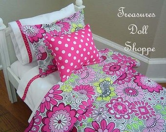 Doll Bedding Set for 18 Inch Sized Dolls - Bright Pink and Gray Floral