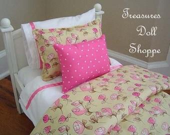 Doll Bedding Set for 18 Inch Sized Dolls - Vintage Pink Rosebud