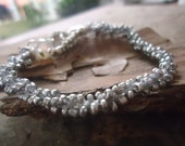 CROCHETED with HEART & AGATE  - gray bracelet (1071)