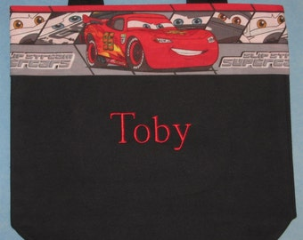 Personalized Disney Cars preschool tote bag for boys black canvas kids daycare library book bag little boy birthday Ring Bearer gift idea