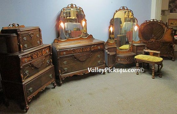Antique Bedroom Set Lighted Mirrors Bed Vanity By Picks4u