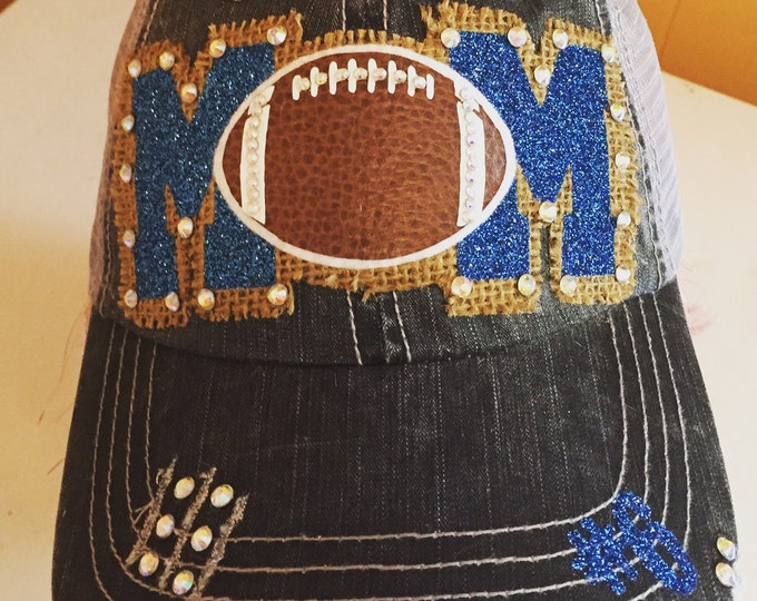 Football Mom Cap - Womens Baseball Cap - Personalized Football - Favorite Player - Custom Sports Mom Cap - Football Mom Bling - High School