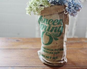 Farm Burlap Bag Sack - Green Spring Pecan Bag Burlap Bag