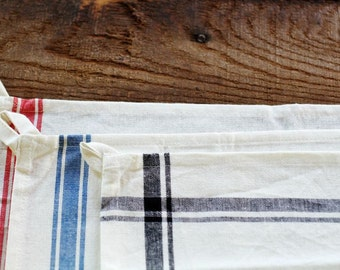 Grainsack Stripe Farmhouse Towels - Set of 2 - Red, Black or Blue Stripe