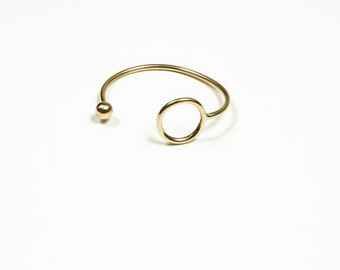 Asymmetrical Brass Handmade Ball and Circle Cuff