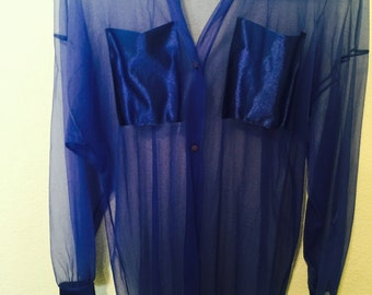 Blouse sheer nylon large long sleeve with satin pockets and trim blue Corinna fashions