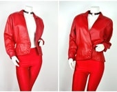 80s Wilsons Leather fire red strong shoulder blazer jacket coat