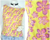 90s Lizzie McGuire CRUSHED VELVET floral daisy boat neck tank shirt