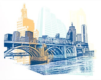 St. Paul Screen Print Poster - Saint Paul Skyline