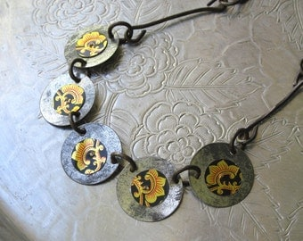 Vintage Tea Tin Industrial Chic Necklace-Asian Design-Black, Gold, and Red-10th Anniversary