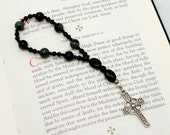 Anglican Prayer Beads One-Week Chaplet: Kambaba Jasper with Pewter Celtic Cross